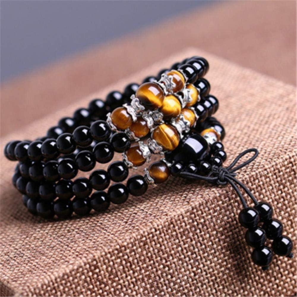Heng Negro 108 Cuentas de oración Collar de Pulsera de Piedra de Ojo de Tigre Hilo de Cristal Mala Rosario Budista Buda Amuleto joyería, Negro 2