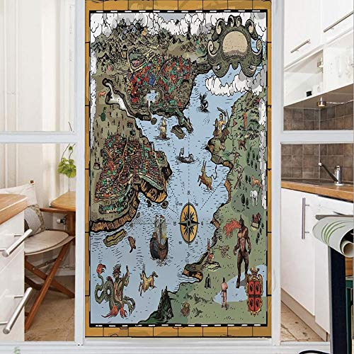 Decorative Window Film,No Glue Frosted Privacy Film,Stained Glass Door Film,retor Map with Rivers and Land Full of Monsters Pirates Giant Creatures Fantasy Art,for Home & Office,23.6In. by 35.4In Ol