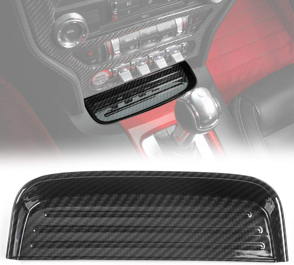 Car Front Gear Shift Panel Storage Box Organizer Tray for Ford Mustang 2015 2016 2017 (Carbon Fiber Grain)