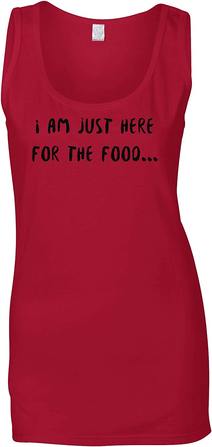 Novelty Ladies Vest I'm Just Here for The Food Slogan