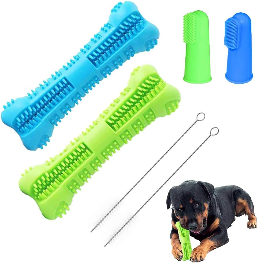YISI Dog Toothbrush Stick 2 Pack - Dog Chew Toys for Small and Medium Breed - Doggie Dental Bone Brushing Food Safety Grade Natural Silicone pet Brush Bite-Resistant for Puppy Teeth Cleaning
