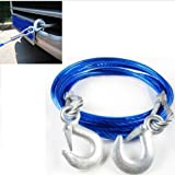ALF towing rope Tow rope knitted white high strength polyester rope traction recovery kinetics x 5 meters and 10 tons shackle tow strap Size : 5M