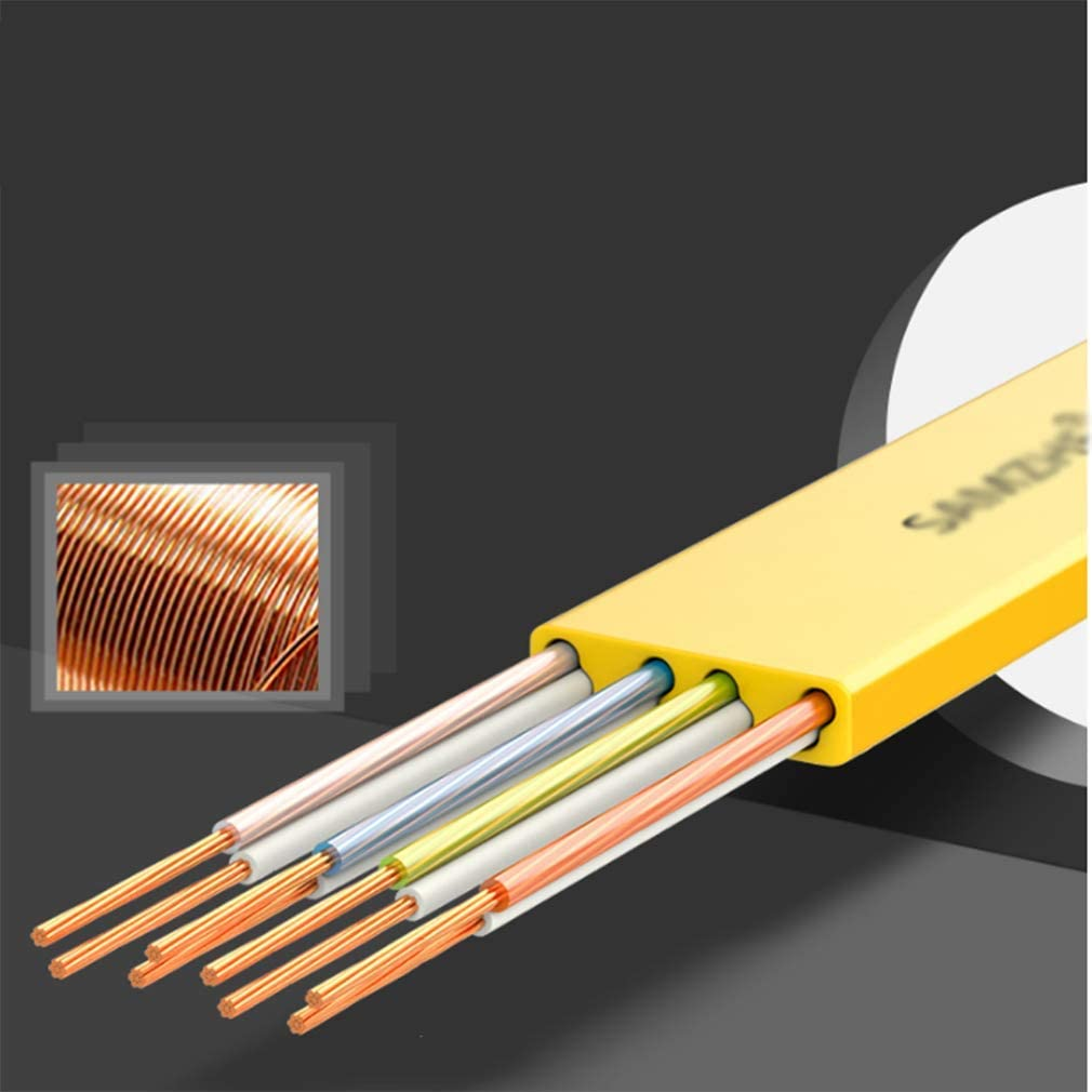 6 6 Types Of Net Wire Pure Copper Flat Gigabit Home High-speed Computer Network Computer Data Cable Broadband Line Environmental Protection Pvc Oxygen-free Copper Core 1m Black//blue//white//yellow