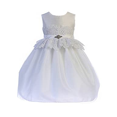 c2de6206f6820 Amazon.com: Crayon Kids Little Girls White Lace Peplum Brooch Flower ...
