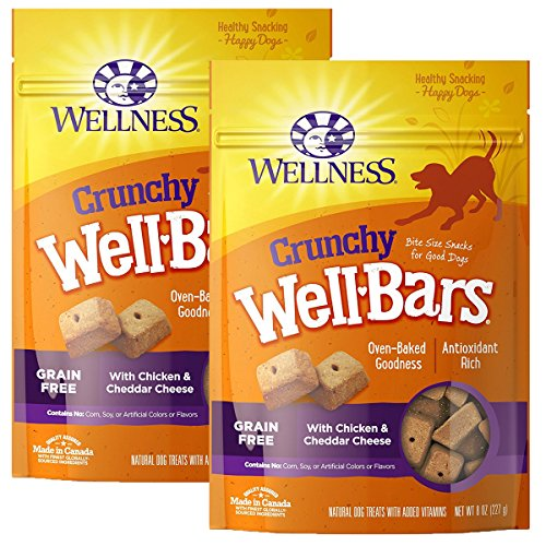 Wellness Natural WellBars Crunchy Dog Treats, Chicken Cheddar, 8-Ounce Bag-2PK