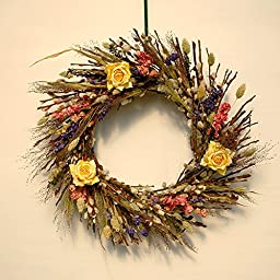 Dried PUSSY WILLOW with FLOWERS Wreath 18\