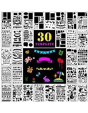 Fansteck Bullet Journal Plantillas de Dibujo, 30 Pack de diferentes formas, DIY Stencial Plantillas para Dibujar, bullet journal puntos para cuaderno, diario, libro de recuerdos, manualidades.