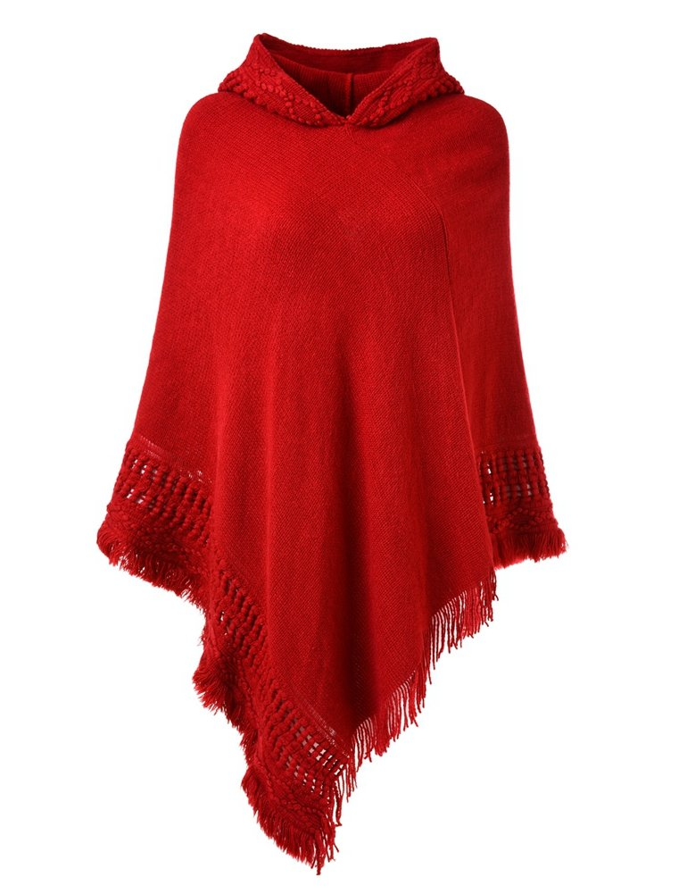 Ferand Ladies' Hooded Cape with Fringed Hem, Crochet Poncho Knitting Patterns for Women, Red by Ferand (Image #1)