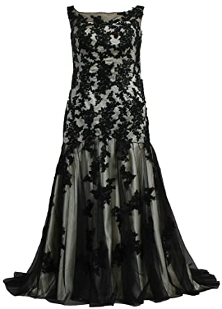5bb51c654e Amazon.com  ANTS Plus Size Black Tulle Lace Mermaid Wedding Dresses ...