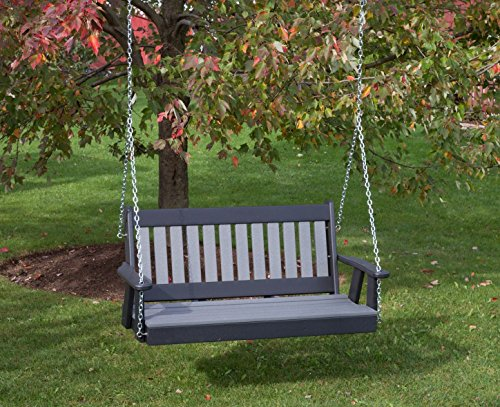 4FT-DARK GRAY-POLY LUMBER Mission Porch Swing Heavy Duty EVERLASTING PolyTuf HDPE - MADE IN USA - AMISH CRAFTED
