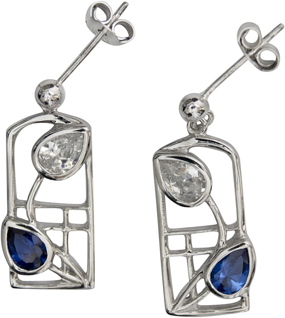605 Pendientes de Plata Rennie Mackintosh - Saltire - Zafiros Azul Real y Zirconia Cúbica. Resistente al Deslustre. Piedras Preciosas Creadas
