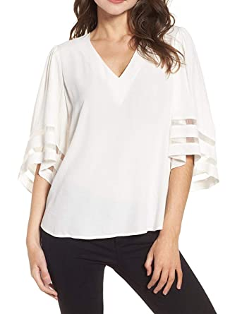 Charlotte Womens 3 4 Bell Sleeve V Neck Patchwork Blouse Casual