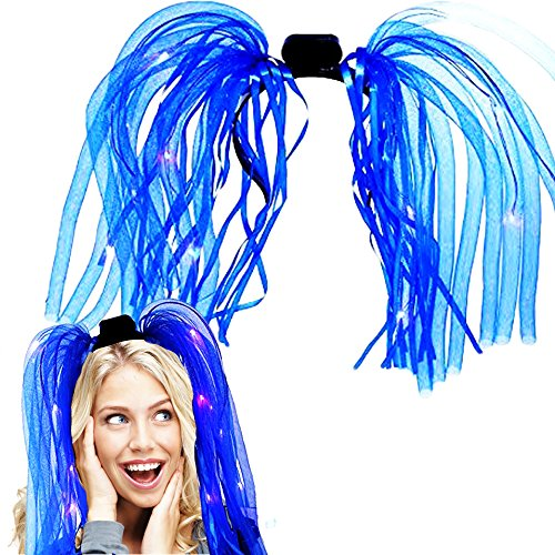 Light Up Hair - Toy Cubby LED Party Rave Disco Flashing Noodle Wig - Light Glowing Blue Dreads. Ideal For Halloween, Dress Up Parties, Masquerades...And So Much More! Be Refined!