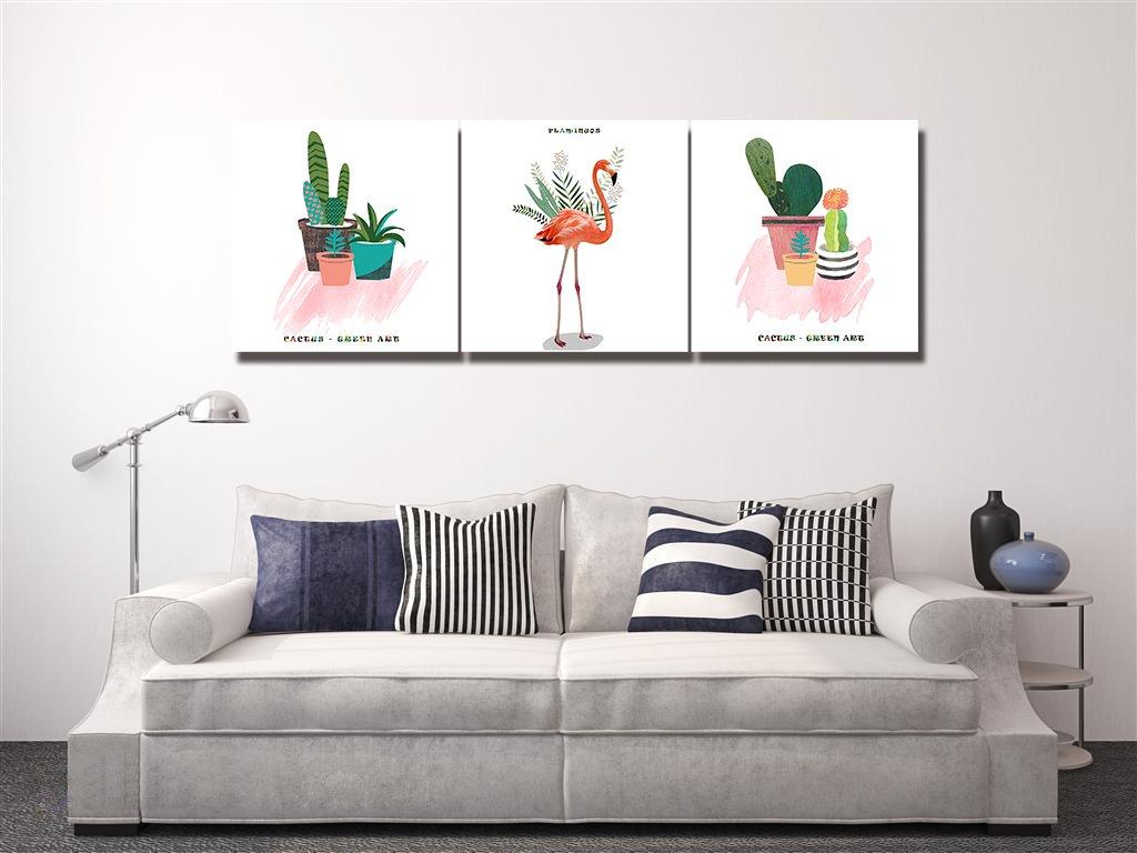 Plantas,macetas,cactus,amor,verde/_Cuadro de pintura al /óleo moderna Impresi/ón de la imagen en la lona Arte de la pared para la sala de estar,Dormitorio,decoraci/ón del hogar,3 piezas 40x40,con marco