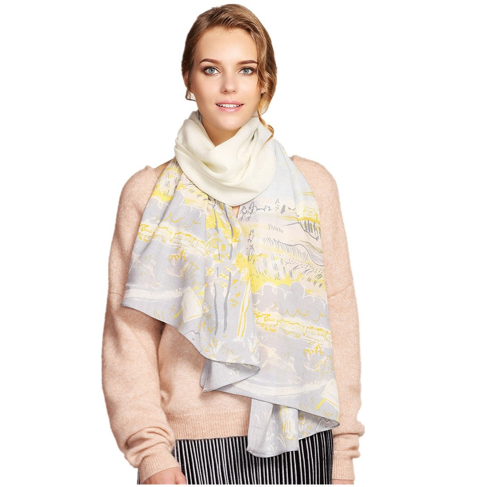 Women's Fashion Luxury Pure Wool Winter Scarves Printing Wraps Long Stole Shawl(185cmx65cm),2#