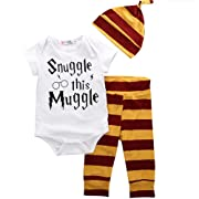 3PCS Newborn Baby Boy Top Rompers+Pants Leggings+Hat Cotton Striped Outfits Clothing Sets (9-12Months)