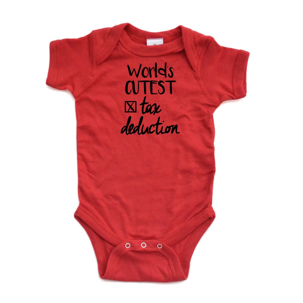 873b096ca Top7: Apericots World's Cutest Tax Deduction Funny Cute Short Sleeve Baby  Bodysuit