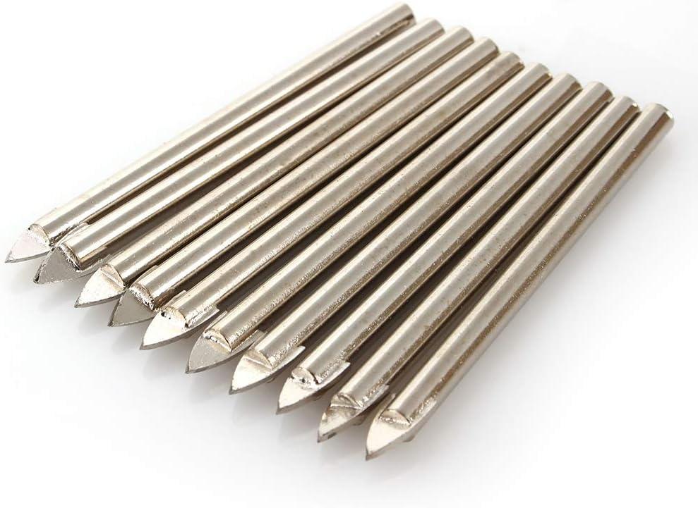 Fydun Ceramic Hole Opener Ceramic Alloy Triangle Drill 6mm Word Head 10 Pcs 6mm Tile Glass Ceramic Mirror Tungsten Carbide Drill Bit Set Spear Head