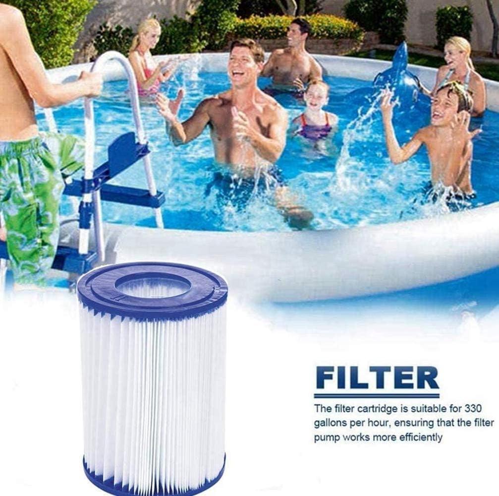 SYANO Cartouche de filtre de piscine type II pour Bestway II Filtre Taille 2 Spa de rechange Filtre de nettoyage de piscine gonflable Accessoires Cartouches de filtre Papier Lot de 6