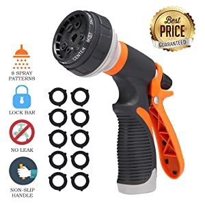 PATHONOR Garden Hose Nozzle,Water Hose Nozzle Hose Spray Nozzle Heavy Duty High Pressure Hose Nozzle with 8 Adjustable Watering Patterns for Wateringr Garden,Washing Pet,Car (Orange Hose Nozzle)