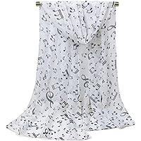 Leisial Mujer Pañuelos Gasa de Larga Símbolo Musical del Abrigo del Mantón de Bufandas Suave Gasa de Chal Seda Verano para Señora,Negro 160 * 50cm