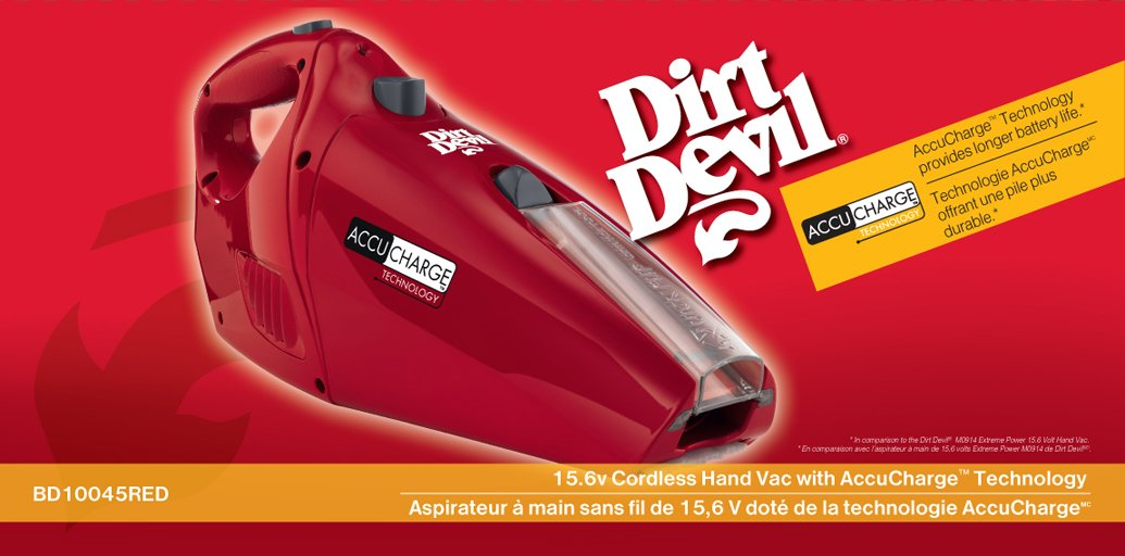 Dirt Devil Hand Vacuum Cleaner Accucharge 15.6 Volt Cordless Bagless Handheld Vacuum BD10045RED Royal Appliance