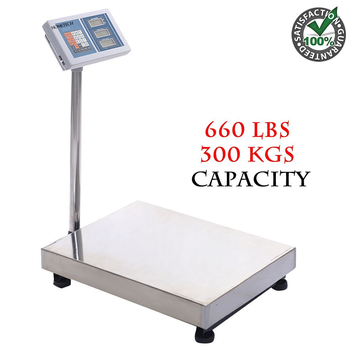 300 Kgs Computing Platform Digital Floor Weight Scale | Large Heavy Duty Industrial Grade Stainless Steel for Postal Mailing Shipping Pet Dog Cat Indoor Outdoor Office Vet Medical Agriculture Textile by HomeTech