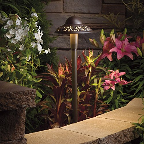 Kichler  15857AZT 12-volt  Pierced Dome LED Landscape Path Light, Textured Architectural Bronze Finish