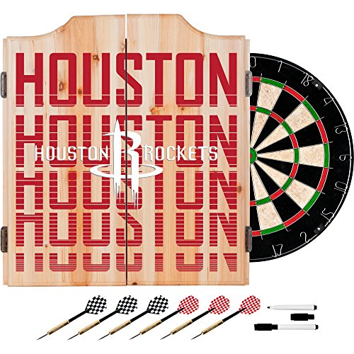 Trademark Gameroom NBA7010-HR3 NBA Dart Cabinet Set with Darts & Board - City - Houston Rockets by Trademark Global