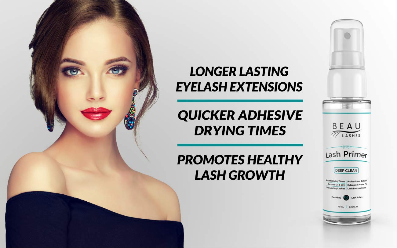 322606d791c Amazon.com : Lash Primer For Eyelash Extensions (40ml) - To Cleanse Lashes,  Promote Healthy Lash Growth & Lengthen the Life Of Individual Faux Mink Lash  ...