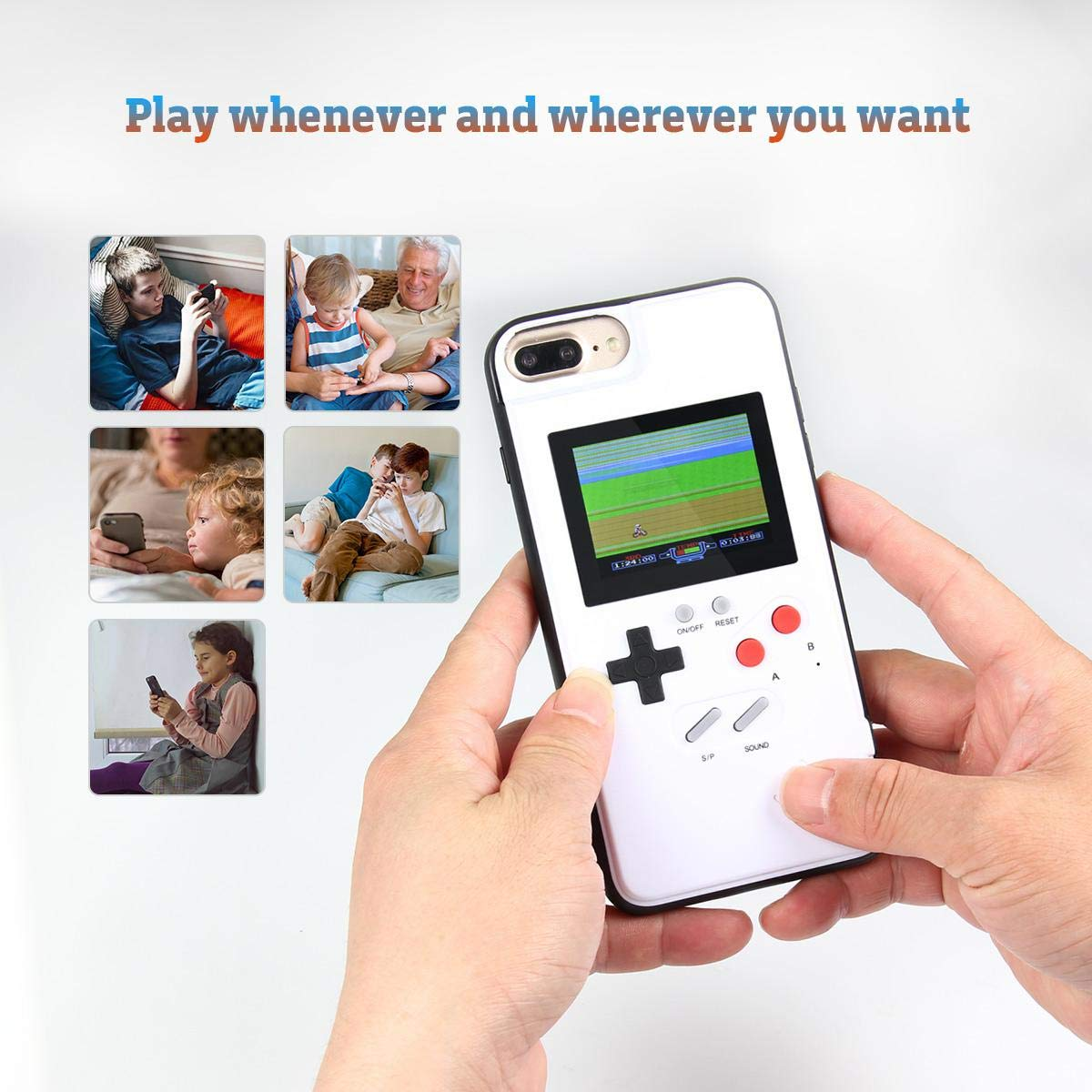 Womdee Game Console iPhone Case, Handheld Game Console Case Cover with 36 Games Phone Case (iPhone 6p/7p/8p, White) by Womdee (Image #4)