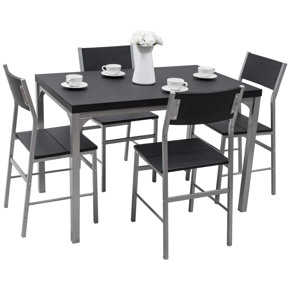 Tangkula Dining Table Set 5 PCS Modern Kitchen Dining Room Wood Top Table and Chairs Home Breakfast Furniture, Black and Grey