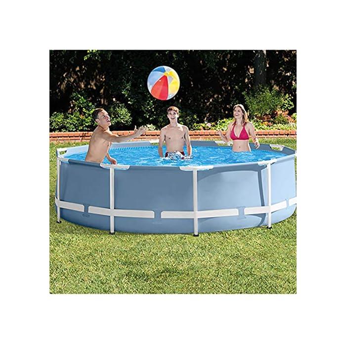61YrKyQq16L Esta es una alternativa asequible y fácil de instalar para un modelo inflable. Disfruta de un divertido verano con una piscina de marco redondo. Los duraderos marcos de metal soportan el uso de una gran cantidad de usos y elementos.