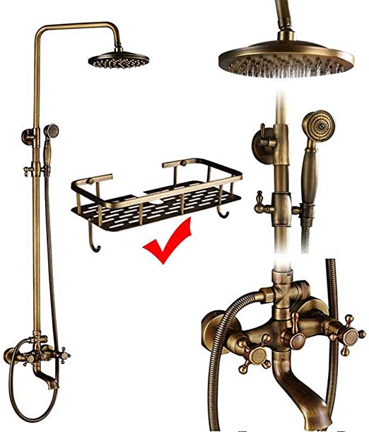 Juego de grifo de ducha de latón antiguo, columna de ducha de ...