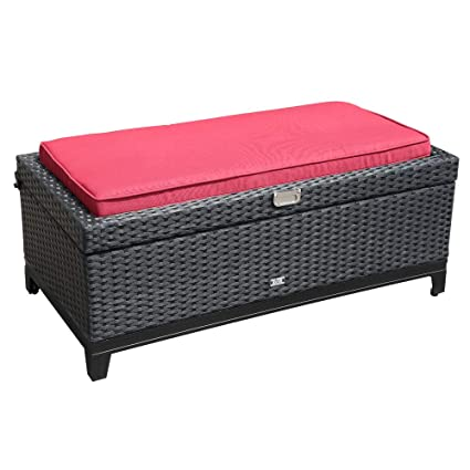 Fantastic Orange Casual Rattan Wicker Deck Storage Box Small Outdoor Storage Bench With Seat Cushion Aluminum Frame Black Rattan And Red Cushion Pdpeps Interior Chair Design Pdpepsorg
