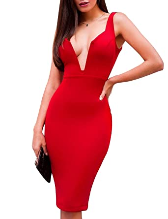 b3437ffa2bc Bqueen Women s Red Deep V Club Night Out Bandage Bodycon Dress Sexy for  Special Occasion BQ15621