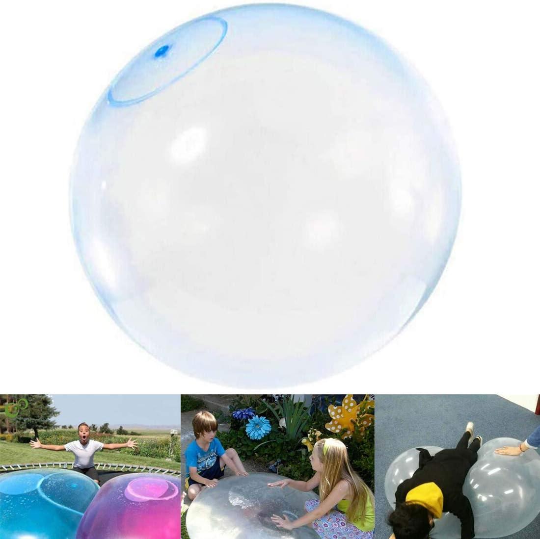 TWWT BubbleWorld Bola de Burbuja Grande de Goma interactiva Llena de Agua, Bola Inflable de Gran tamaño Juguete Infantil Bola Hinchable Bola de Agua de inyección Bola de Burbuja (Azul)