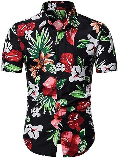 qulvyushangmaobu Camisa Playera Estilo Hawaiiana Floral Veraniega Manga Corta Casual para Hombre: Amazon.es: Ropa y accesorios