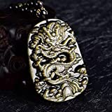 Natural Obsidian Dragon Pendant Men's Necklace Domineering Obsidian Lucky Transfer Evil Item Pendant Body Jewelry