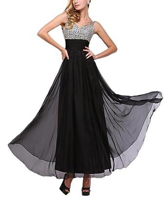 Dearta Womens A-Line V-Neck Floor-Length Prom Dresses US 2 Black