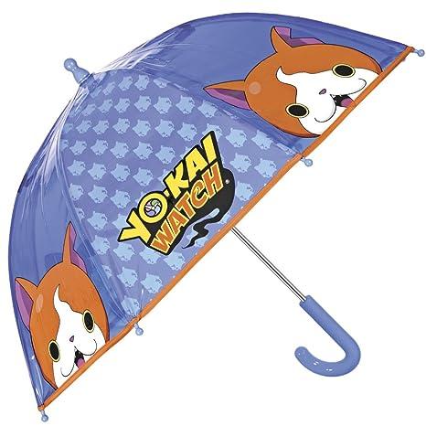 Paraguas Yo Kai Watch - Paraguas para niño transparente de cupula, resistente, antiviento y