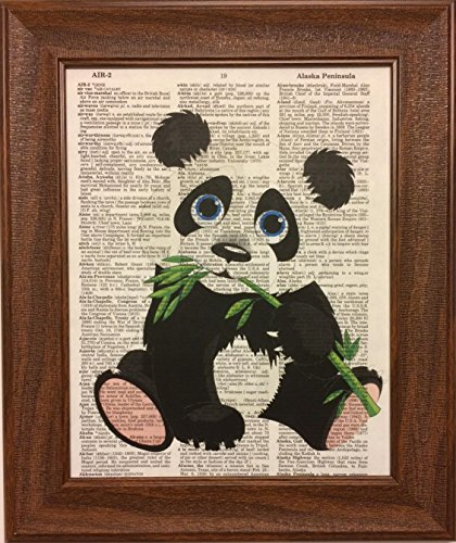 Panda Bear Animals Children's Dictionary Book Page Artwork Print Picture Poster Home Office Bedroom Kitchen Wall Decor - - Panda Frame Picture
