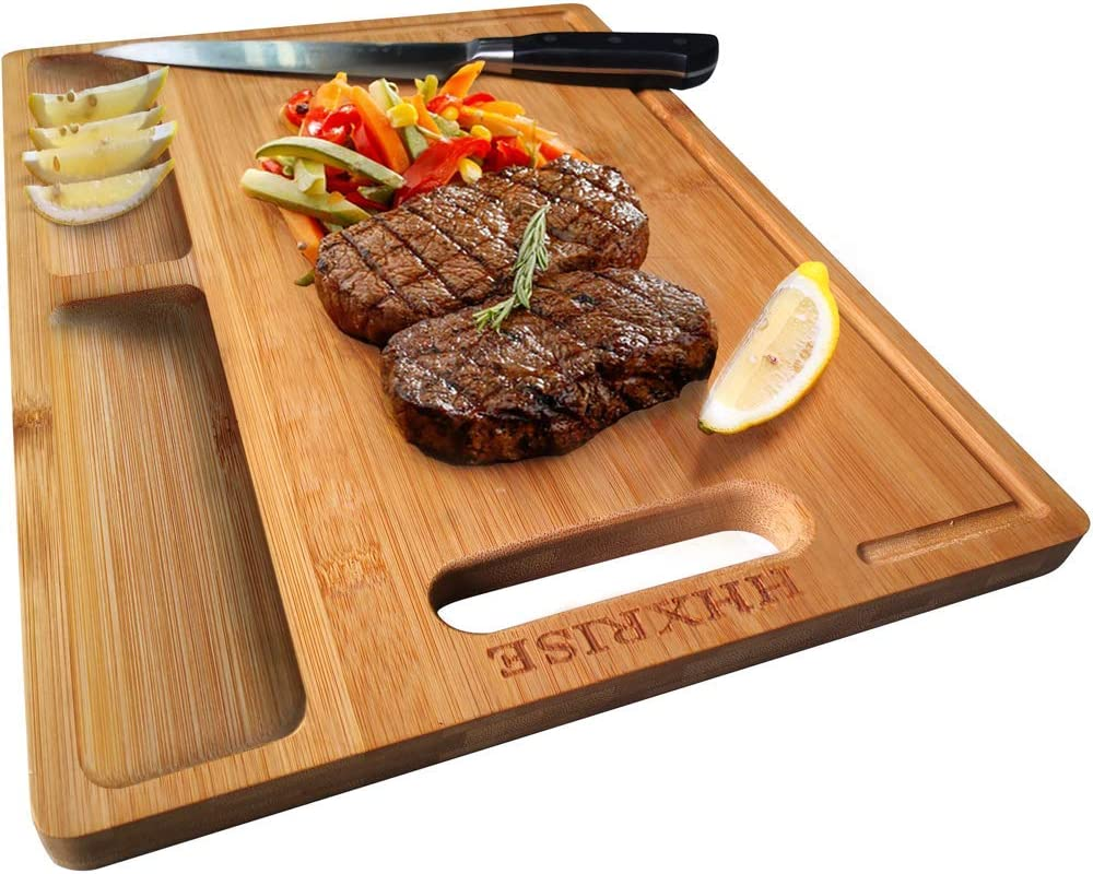 """HHXRISE Organic Bamboo Cutting Board For Kitchen, With 2 Built-In Compartments And Juice Grooves, Chopping Board For Meats Bread Fruits, Butcher Block, Carving Board, BPA Free (S-12x8.4"""")"""