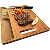 HHXRISE Organic Bamboo Cutting Board For Kitchen, With 2 Built-In Compartments And Juice Grooves, Chopping Board For…