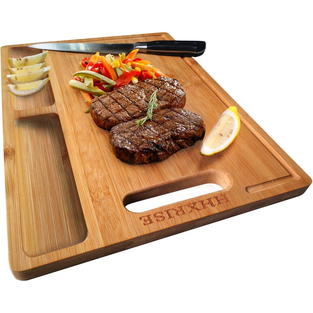 Bamboo Kitchen Cutting Board 3 Built-in Dividers and Juice Grooves,Heavy .. New