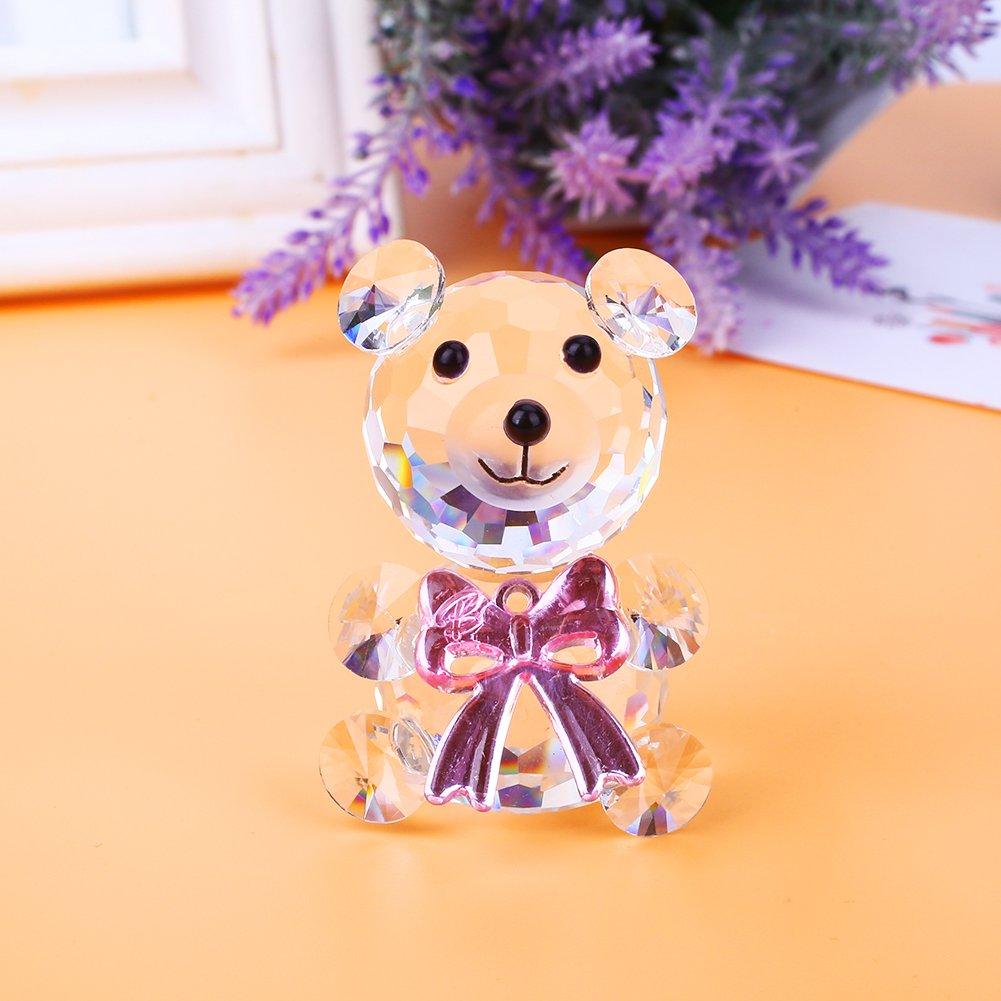 Fenghong Cristal Ours D/écoration Ours De Collection Cristal D/écor Enfants en Verre Animal Prop Maison
