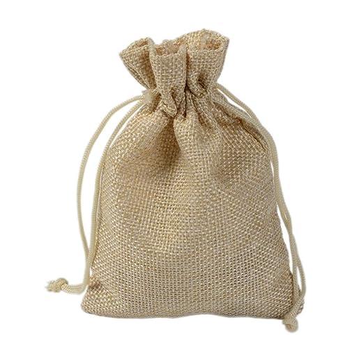 CZSM Bolsas de arpillera de 50 Piezas con cordón de Nylon ...
