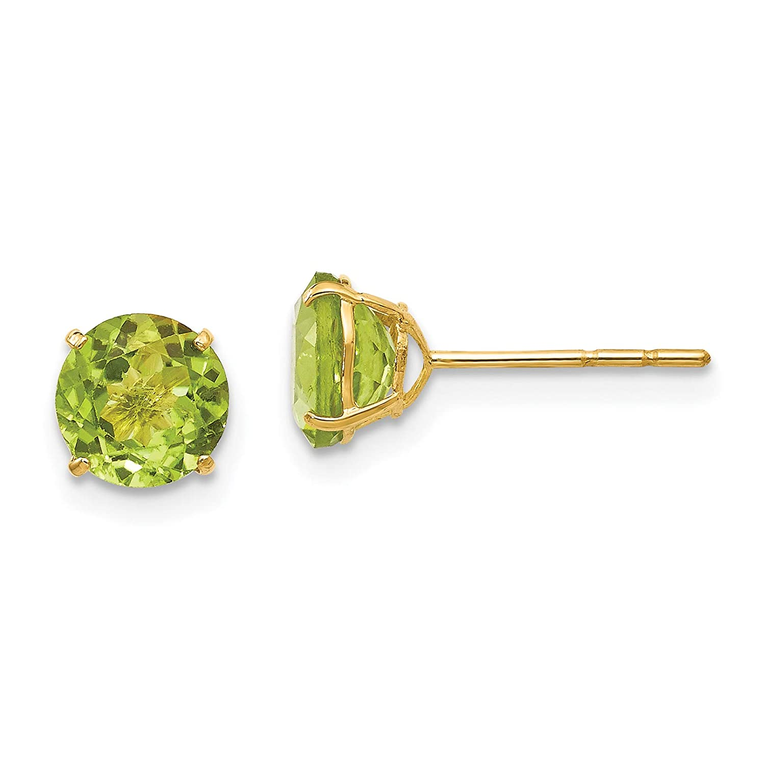 14K Yellow Gold Madi K Childrens 6 MM Round Peridot Post Stud Earrings