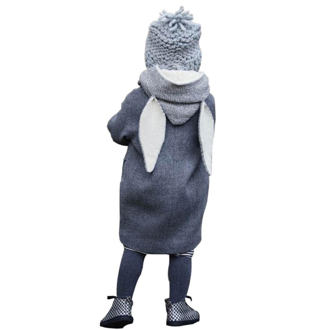 Kids Winter Hooded Coat, elecenty Kleinkind Jungen Mädchen Dick Warm Pullover Kaninchen Jacke, baumwolle, grau, 1-2 Jahre