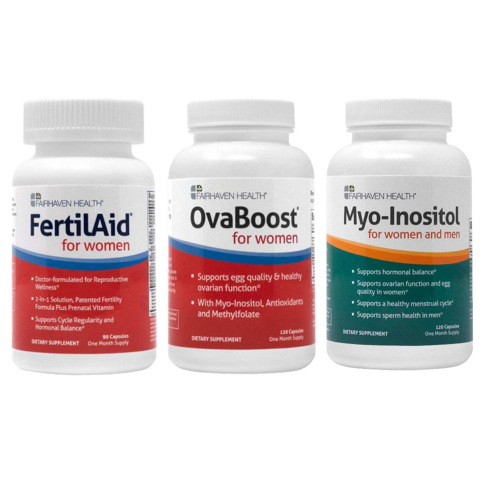 Fertilaid for Women, OvaBoost, & Myo-Inositol Fertility Supplements for Women Combo - 1 Month Supply - Provides Support for Women With Hormone Imbalance and Irregular Ovulation